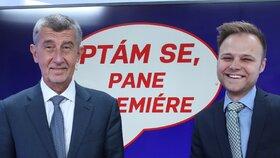 Andrej Babiš s moderátorem pořadu Ptám se, pane premiére Jakubem Veinlichem ve studiu Blesku