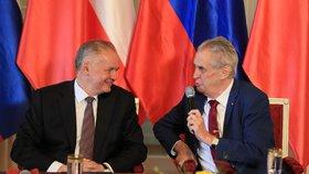 Andrej Kiska s Milošem Zemanem v Lánech.
