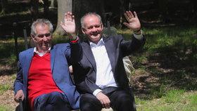 Prezident Miloš Zeman a jeho slovenský protějšek Andrej Kiska si prohlédli oboru u zámku v Lánech, kam končící slovenský prezident přijel na svou poslední oficiální návštěvu Česka (30. 5. 2019)