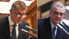 Andrej Babiš se hájil ve Sněmovně kvůli údajnému střetu zájmů, Miroslav Kalousek se do něho zostra pustil