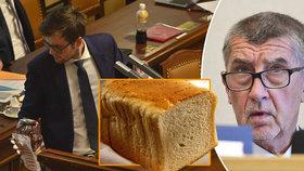 Pirát Jakub Michálek během svého projevu v Poslanecké sněmovna věnoval premiérovi Andreji Babišovi toustový chléb značky Penam (4. 6. 2019)