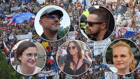 Demonstrace na Václavském náměstí se účastní i Čvančarová, Čermák, Mádl, Pazderková i Josefíková (4. 6. 2019)