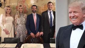 Americký prezident Donald Trump si na návštěvu Británie vzal své dospělé děti.