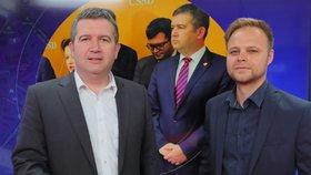 Předseda ČSSD, místopředseda vlády a ministr vnitra Jan Hamáček hostem pořadu Epicentrum dne 6.6.2019. Vpravo moderátor Jakub Veinlich.