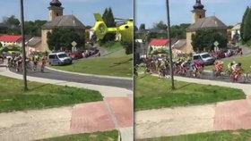Záchranářský vrtulník sfouknul cyklisty při závodě: Chyba pořadatelů, vykřikují lidé. Jiní nadávají na pilota.