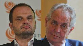 Kandidát ČSSD na ministra kultury Michal Šmarda (vlevo) u Miloše Zemana neuspěl