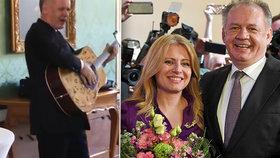 Andrej Kiska předává prezidentský úřad na Slovensku Zuzaně Čaputové, sám na rozloučenou dostal kytaru