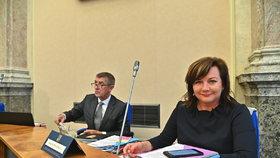 Místopředsedkyně vlády a ministryně financí Alena Schillerová před začátkem schůze vlády (20. 5. 2019)