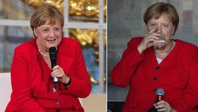 Německá kancléřka Angela Merkelová po úterní slabosti dodržuje pitný režim, (20.06.2019).