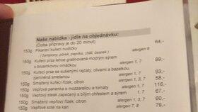 Jídelní lístek v Poslanecké restauraci