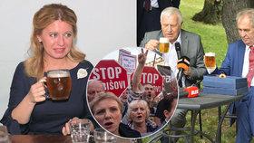 Čaputová má pro demonstranty pochopení, Zeman protesty označil na Klausově oslavě za neužitečné