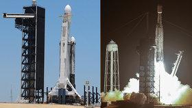 Z mysu Canaveral odstartovala s tříhodinovým zpožděním raketa soukromé americké společnosti SpaceX Falcon Heavy s nákladem 24 experimentálních družic.