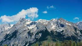 Rakouské alpské pohoří Tennengebirge.