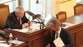 Vojtěch Filip (KSČM) a Andrej Babiš (ANO)