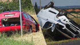Osobák se dvěma dětmi se na Kutnohorsku srazil s dodávkou: Na místě zasahoval vrtulník