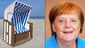 Plážové koše jsou na Baltu tradicí, pobřeží je jimi poseté. Jeden má i kancléřka Merkelová.
