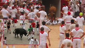 Při prvním letošním běhu s býky v Pamploně bylo pět zraněných, (7.07.2019).