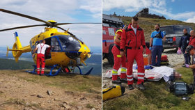 Muž zkolaboval pár metrů pod vrcholem Sněžky: Život mu zachránili laici a horská služba