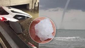 Itálií se prohnala silná bouře. Přinesla s sebou extrémní kroupy a tornádo.
