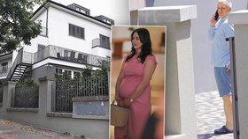 Hradní kancléř Vratislav Mynář, jeho těhotná žena Alex a zrekonstruovaná vila v pražských Strašnicích