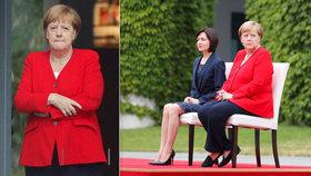 Merkelová absolvovala další uvítací ceremoniál vsedě (16. 7. 2019).