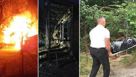 Požár chaty u Karlštejna: Hasiči v ní nalezli mrtvolu