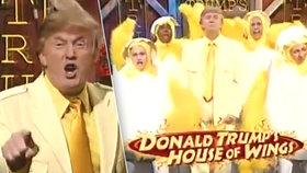 Americký prezident Donald Trump skotačí s kuřaty v parodii na reklamu na rychlé občerstvení