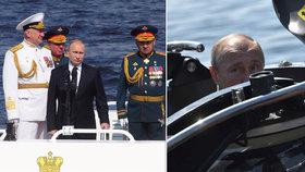 Putin se zúčastnil přehlídky ruského námořnictva v Petrohradu