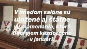 Slovenská prezidentka Zuzana Čaputová udělala virtuálního prohlídku Grasalkovičova paláce (31. 7. 2019)