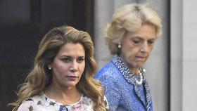 princezna Hajá bint al-Husajn u londýnského soudu, (31.07.2019).