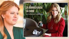Slovenská prezidentka Zuzana Čaputová v reklamě na kávu, se kterou nesouhlasila.