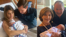 Exprezident Bush je potřetí dědečkem, konečně se dočkal kluka.