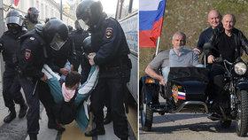 Prezident Putin na projížďce s Nočními vlky.