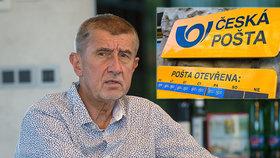"""Babišův pohřeb pošty: """"Stará Česká pošta je mrtvá,"""" prohlásil. Chce z ní udělat akciovku"""