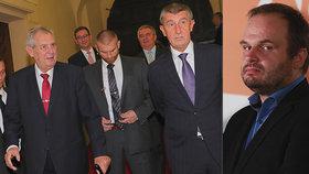 Michal Šmarda (ČSSD, vpravo) se vzdal nominace na ministra kultury, Andrej Babiš (ANO) jeho rozhodnutí před schůzkou se Zemanem přivítal.
