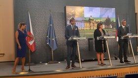 Premiér Andrej Babiš, místopředsedkyně Alena Schillerová a ministr zdravotnictví Adam Vojtěch po prázdninovém jednání vlády