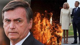 Bolsonaro chce po Macronovi omluvu, teprve pak přijme peníze na záchranu Amazonie.