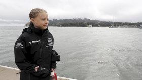 Mladá švédská aktivistka Greta Thunbergová po 14 dnech na moři dosáhla se svou posádkou newyorského Manhattanu (28. 8. 2019).