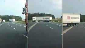 Kamioňák se otáčel přes čtyři pruhy! Vše zachytila kamera v autě.