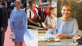 Slovenská prezidentka Zuzana Čaputová okouzlila Rakušany v blankytných šatech.