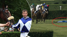 Žokej Marcel Novák spadl z koně při dostizích na mosteckém hipodromu.