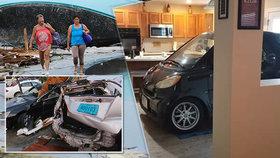 Američan přípravu na hurikán pojal po svém, auto si zaparkoval do kuchyně.