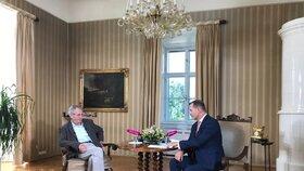 """Prezident Miloš Zeman se po prázdninách opět sešel s moderátorem Jaromírem Soukupem při natáčení pořadu """"Týden s  prezidentem"""""""