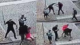 Muž napadl svou expřítelkyni přímo na náměstí! Ochránil ji muž s francouzskou holí