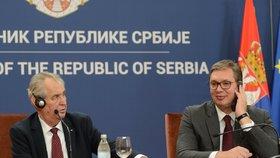 Český prezident Miloš Zeman se svým protějškem Aleksandarem Vučičem na státní návštěvě Srbska (11. 9. 2019)