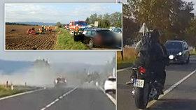 Motorkář riskantně předjížděl: Vážně zranil sebe i svou spolujezdkyni!