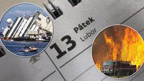 Na pátek 13. skutečně k několika katastrofám došlo. Ne však více, než jindy.