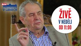 Prezident Miloš Zeman a pořad S prezidentem v Lánech se vrací v neděli 22. září.