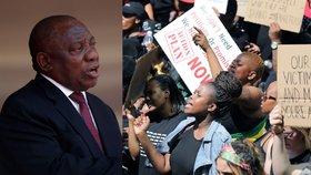 Prezident JAR Cyril Ramaphosa a protest proti násilí na ženách
