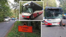 U Kamenných Žehrovic se srazil autobus s autem: Těžce zraněnou ženu v bezvědomí museli vyprostit!